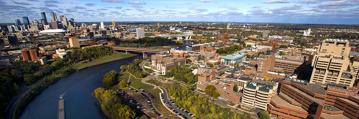About hero aerial view of campus