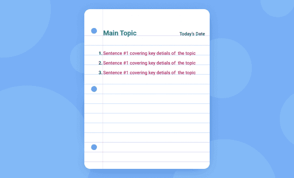 Image of sentence method where users will jot down sentences for each main topic