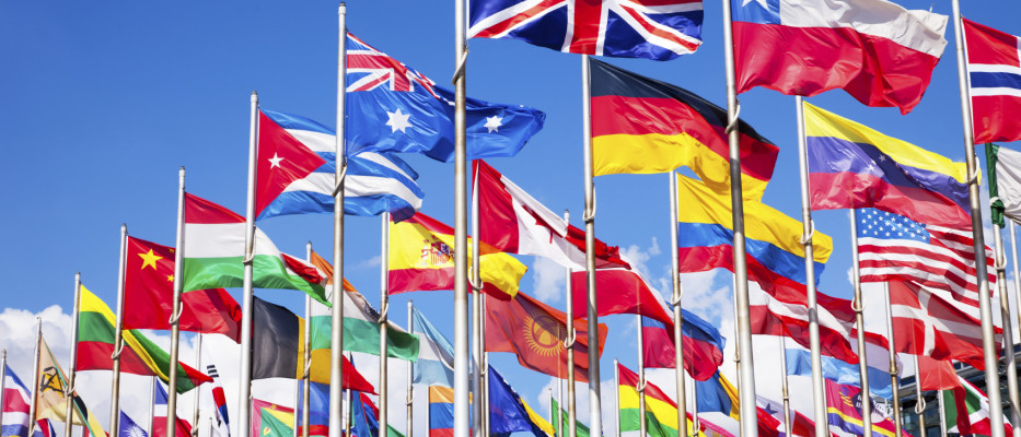 International relations and politics flags 933x400