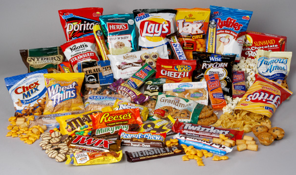 A big pile of junk food snacks