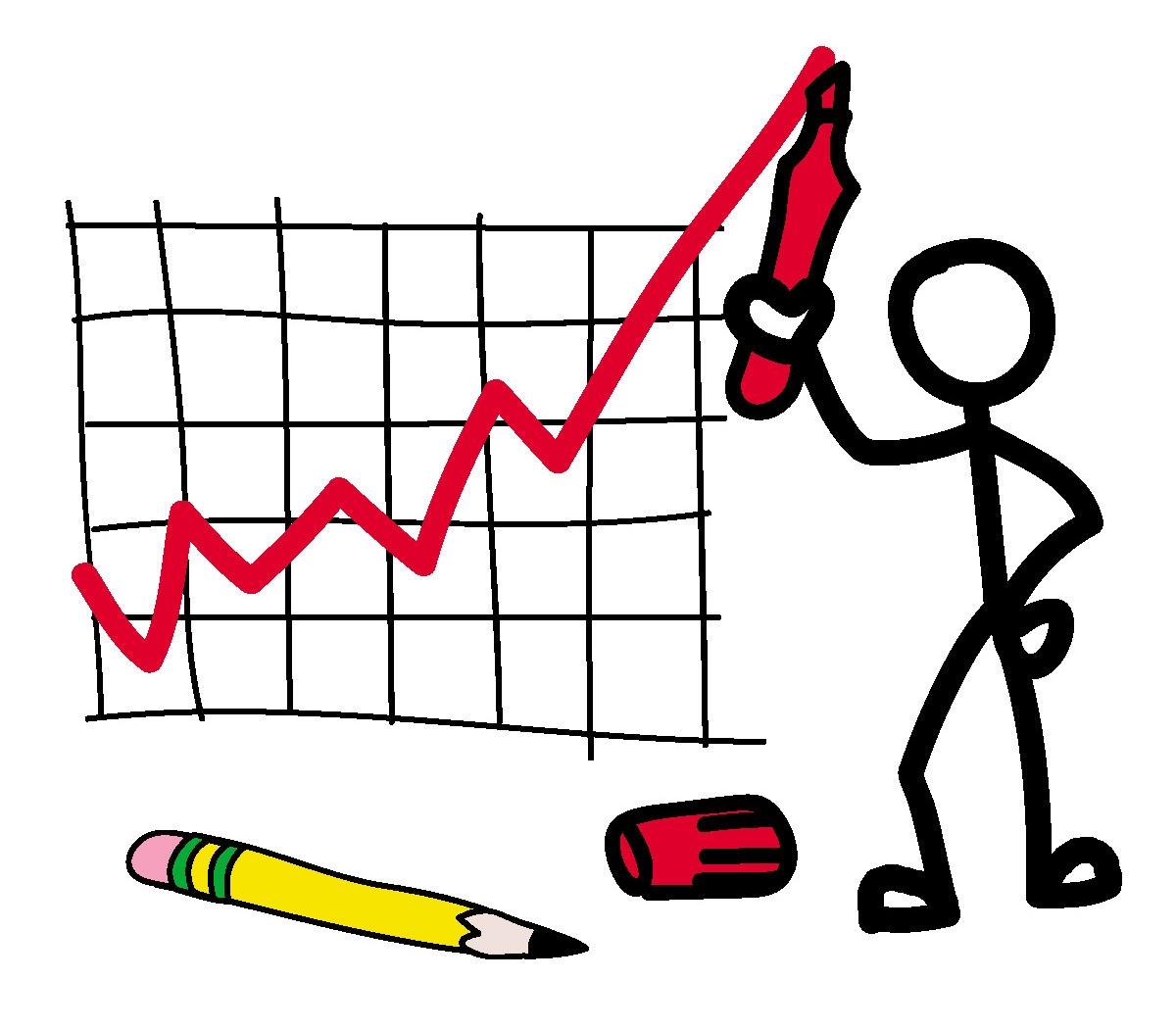A stickman drawing a graph