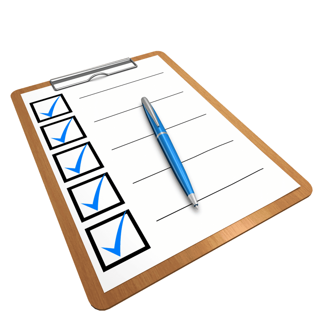 clipboard with checklist and pen