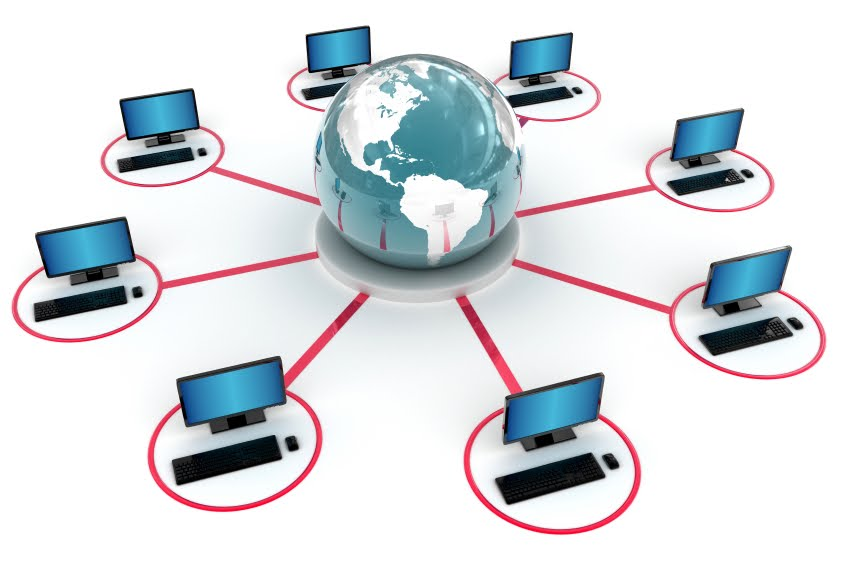 Computers from across the globe connected on a network
