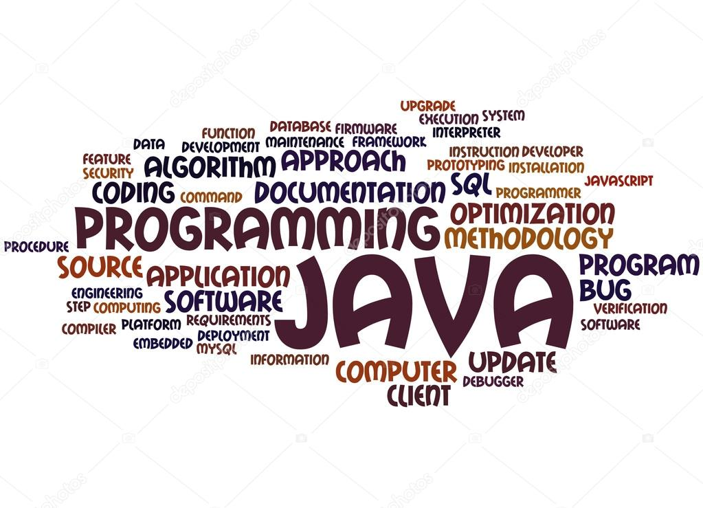 A word cloud of programming terms