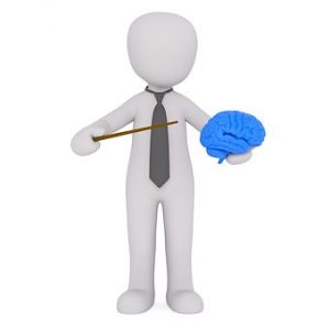 a figure holding a brain and pointing to it with a pointer stick.
