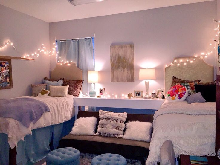 A decorated dorm space.