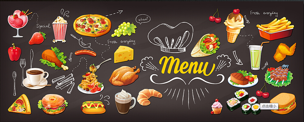 Custom retro textile wallcoverings hand painted food 3d murals for the restaurant cafe hotel background wall