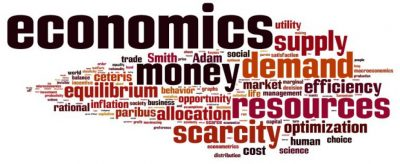 A collage of economics terms