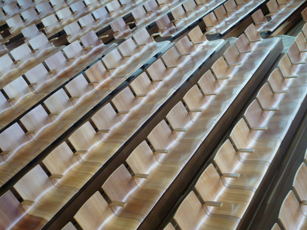 Rows of seats in a lecture hall