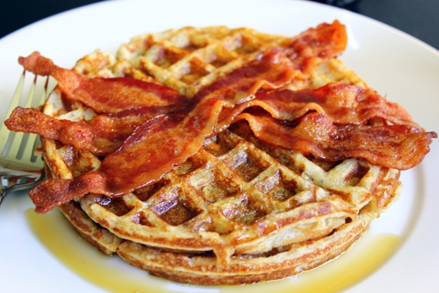 waffles with bacon