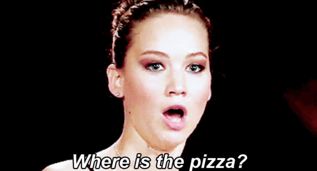 jennifer lawrence meme asking where is the pizza