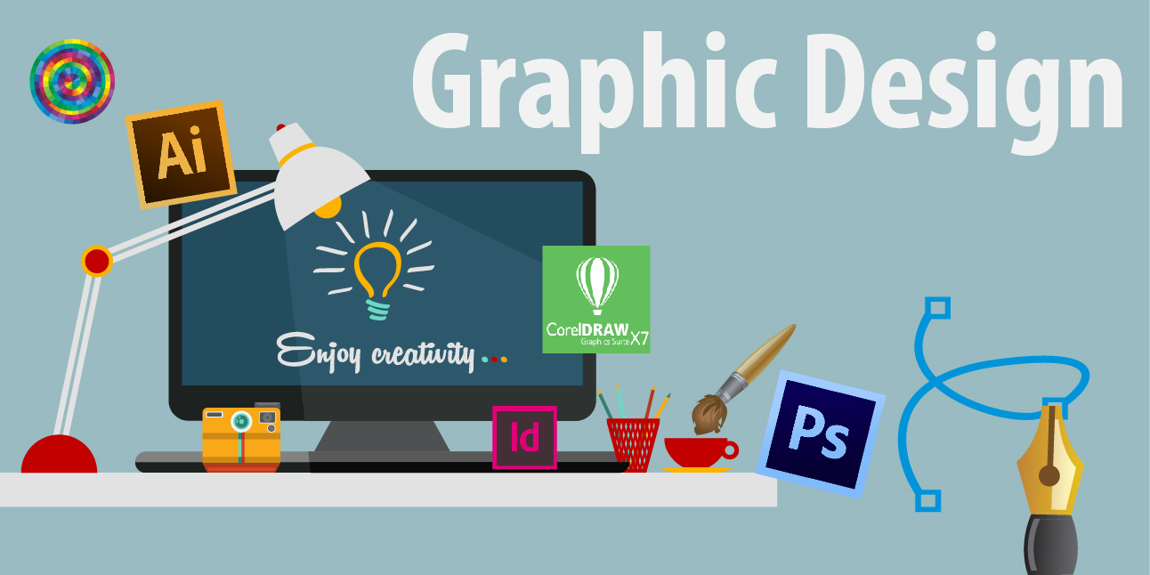 Vector with a computer surrounded with apps like Adobe Illustrator and Photoshop