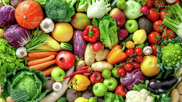 An assortment of fresh fruits and vegetables