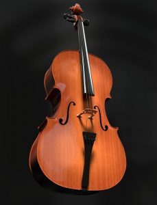 a photograph of a violin against a black background.
