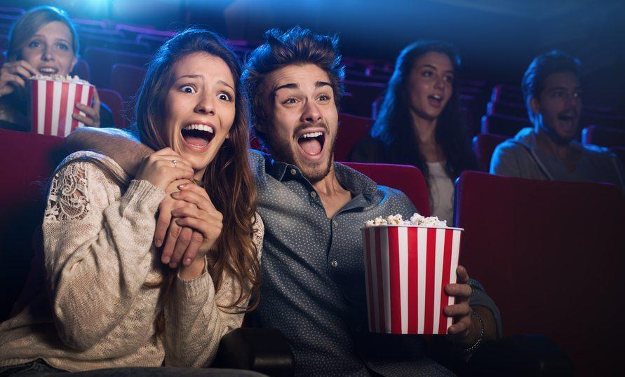 A couple enjoying a movie