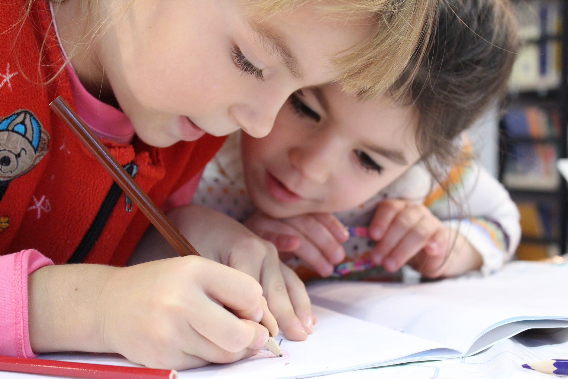Two children drawing