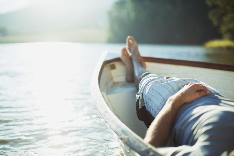 relaxing in a boat