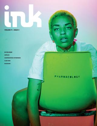 a neon green cover of ink magazine