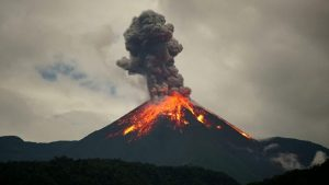 A picture of a volcano erupting.