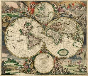 A photo of an old map of the world