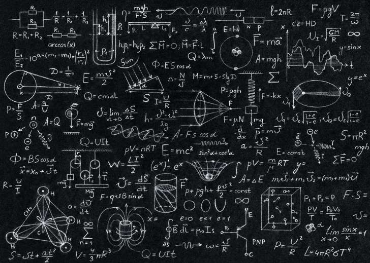 A lot of mathematical equations on a board