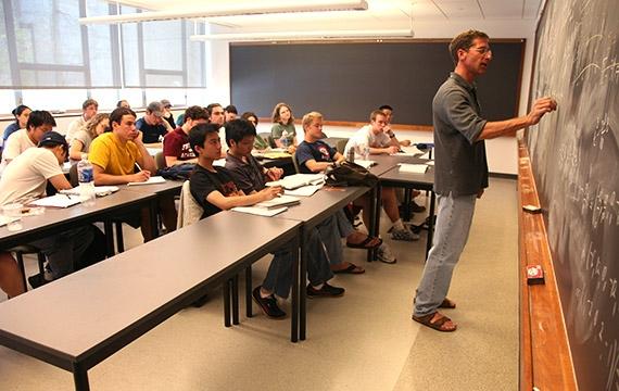 Professor teaching students in class.