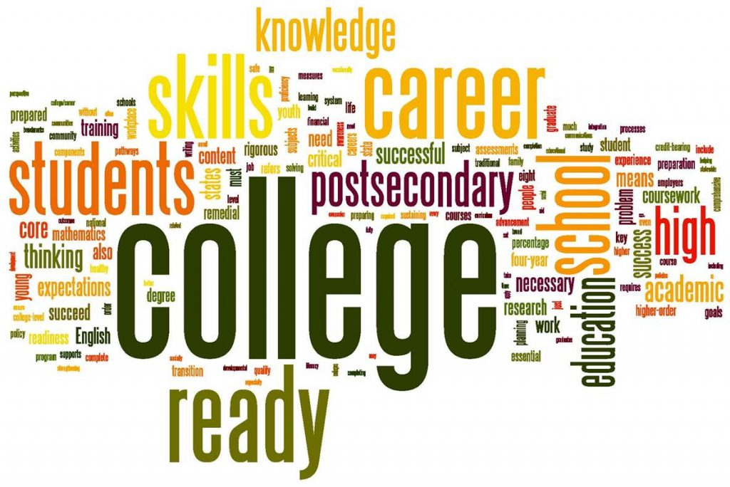 Image of words describing all college entails, including hard classes.