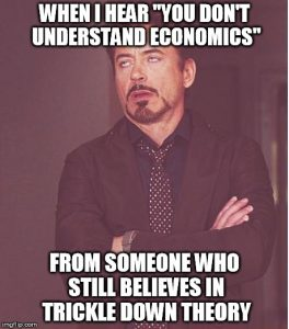 A meme mocking the the Trickle Down Theory.