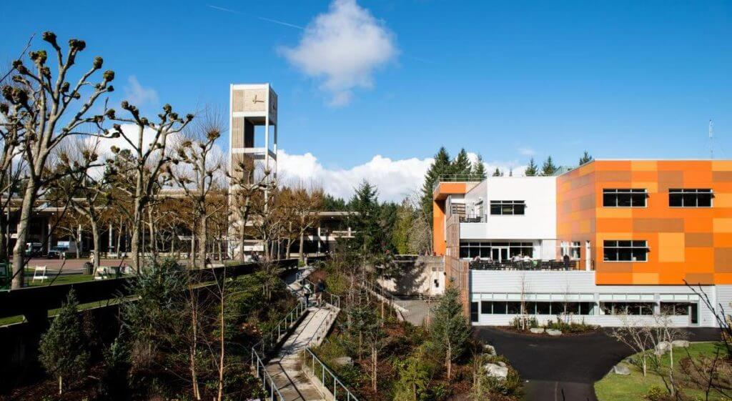 Evergreen State College view of buildings within the forestry