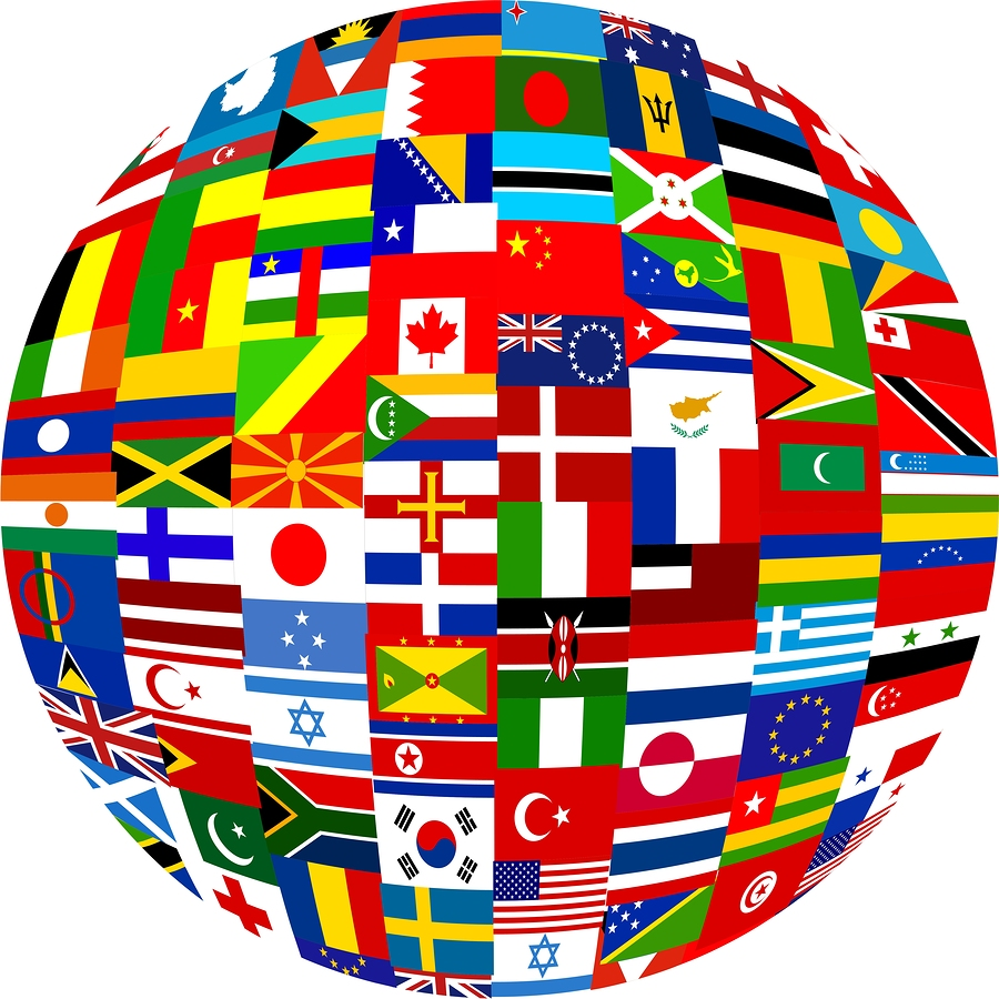A globe made up of world flags