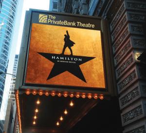 A sign of the musical Hamilton.