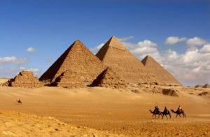 Picture of the Pyramids of Giza in Egypt.