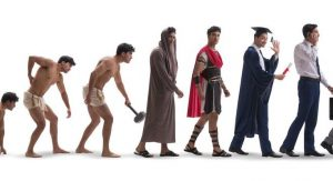 The evolution of mankind through various eras of time.