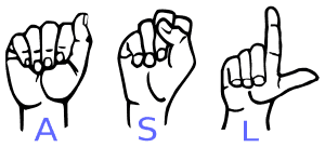 """Hands signing """"ASL"""" in American Sign Language"""