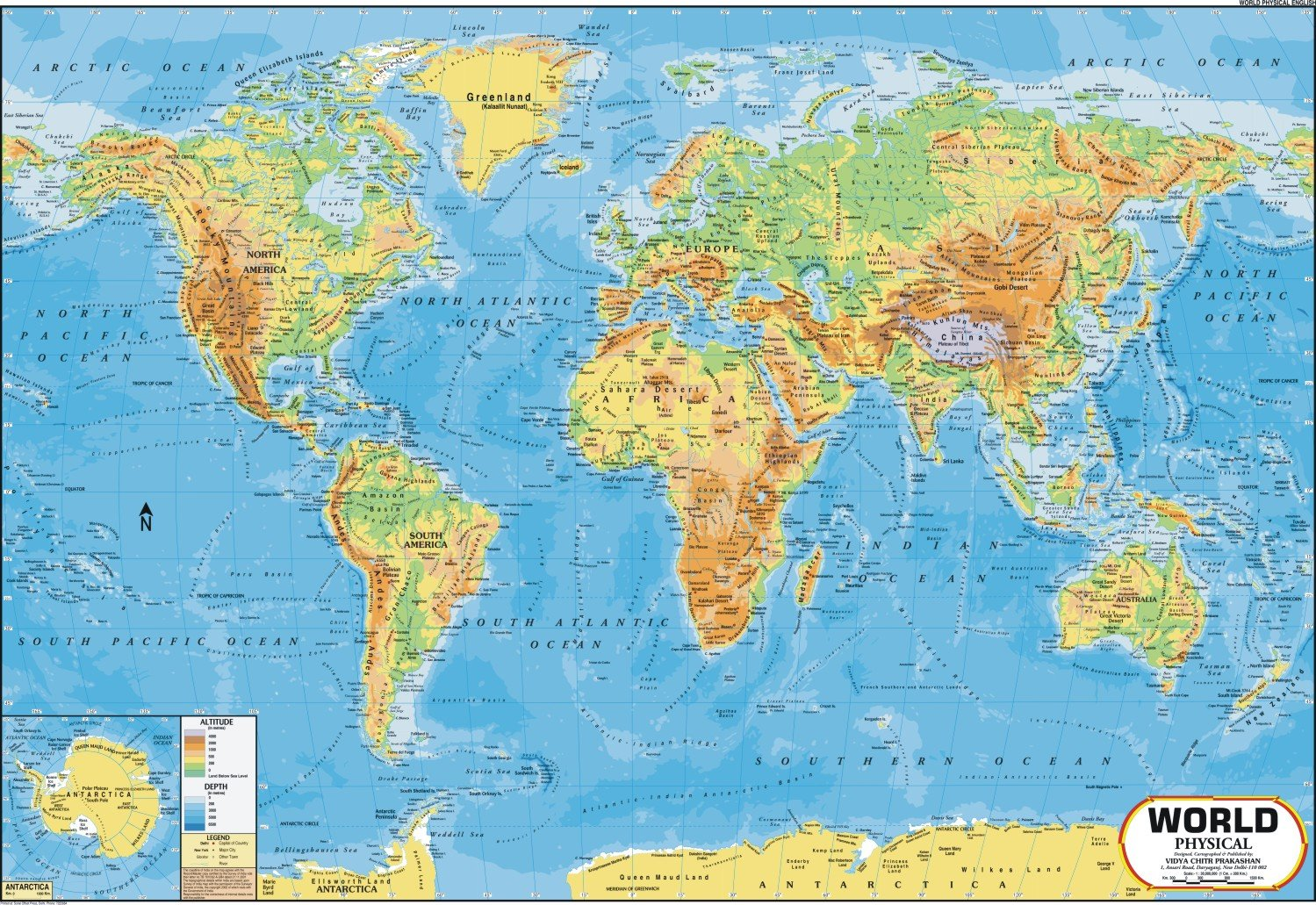 The physical map of the world