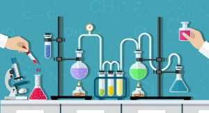 a cartoon of scientists doing chemistry