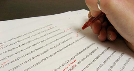 A person grading a paper