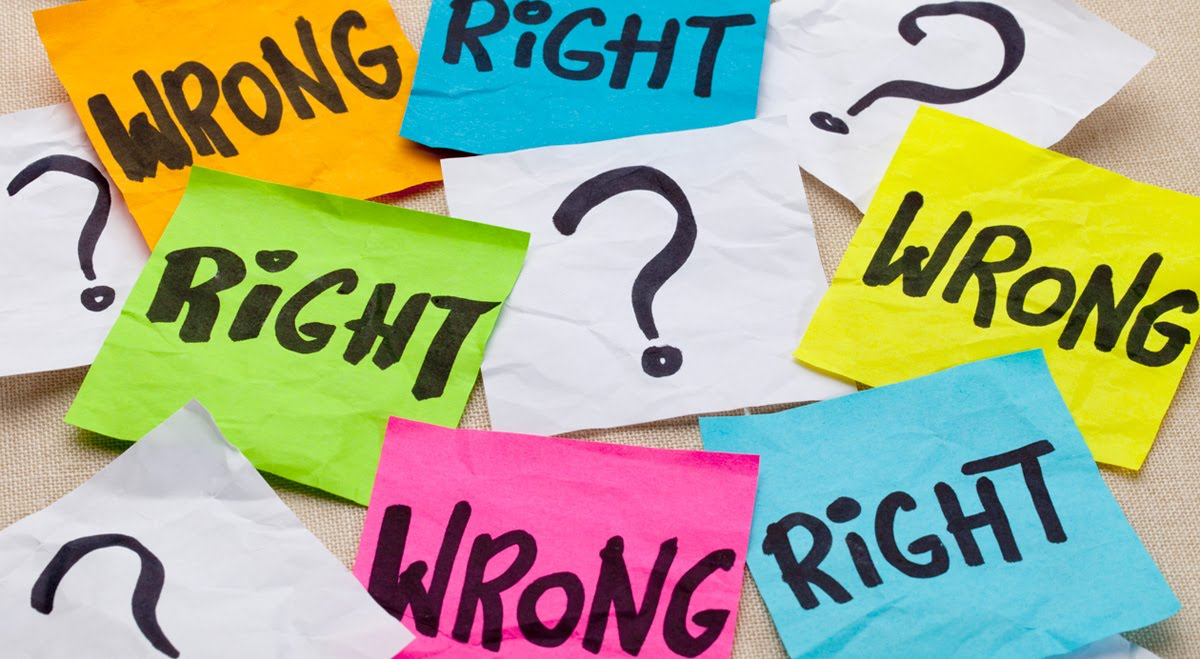right and wrong post its