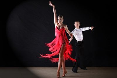 This image captures two students dancing.