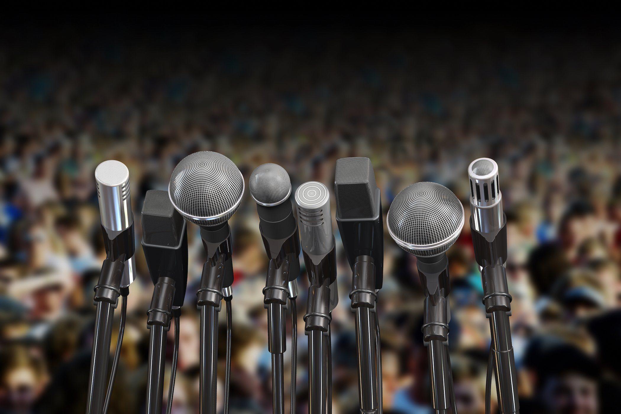 Microphones set up for a speech