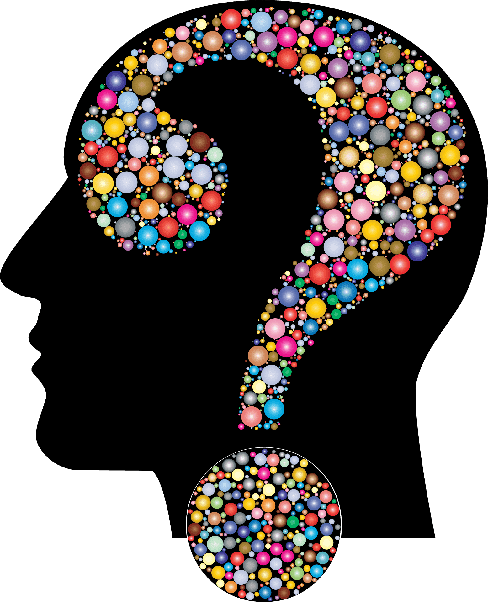 A question mark making up the human brain