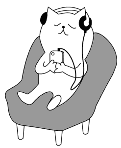 Cat appreciating music.
