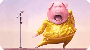 Cute pig singing and dancing.