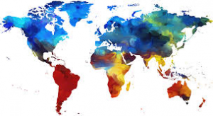 Map representing the diverse cultures of the world.