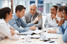A simple business meeting between coworkers.