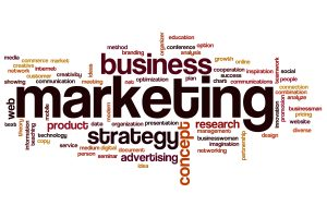 A jumble of words related to marketing