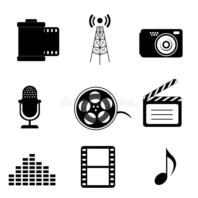 Icons of all types of media including film, camera, microphone, music, movies