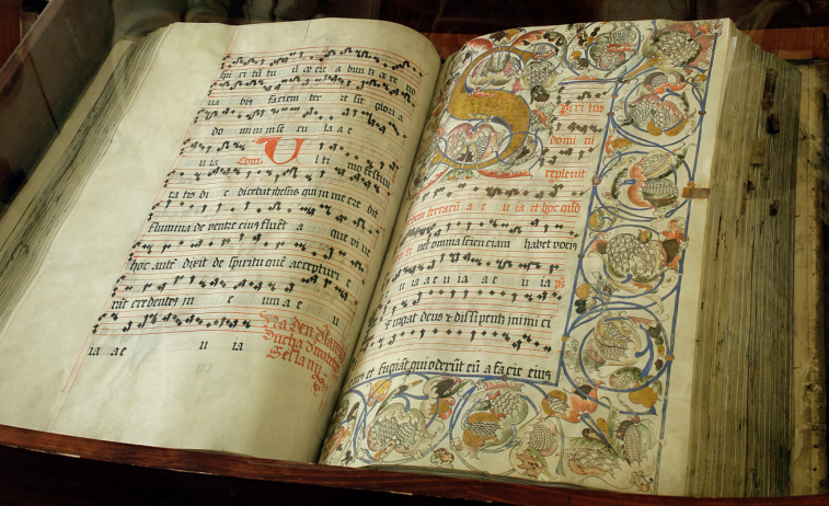An image of an open medieval literature book