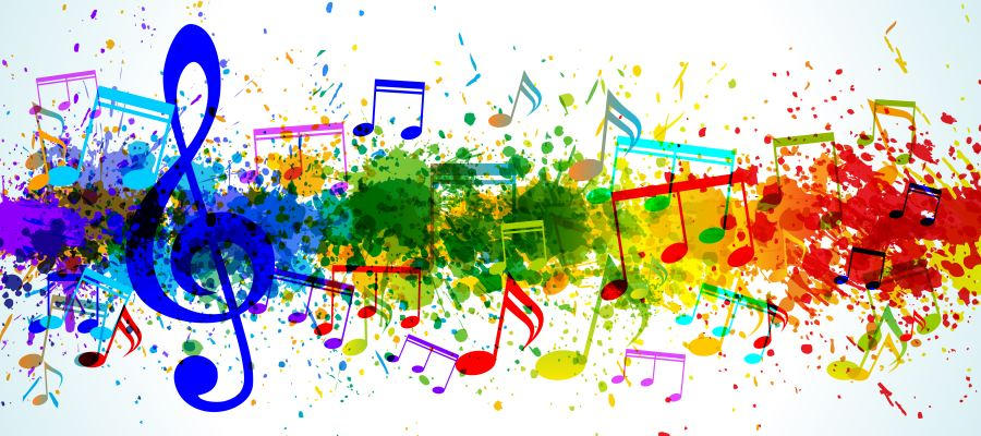 Music background and Color paint splashes vector