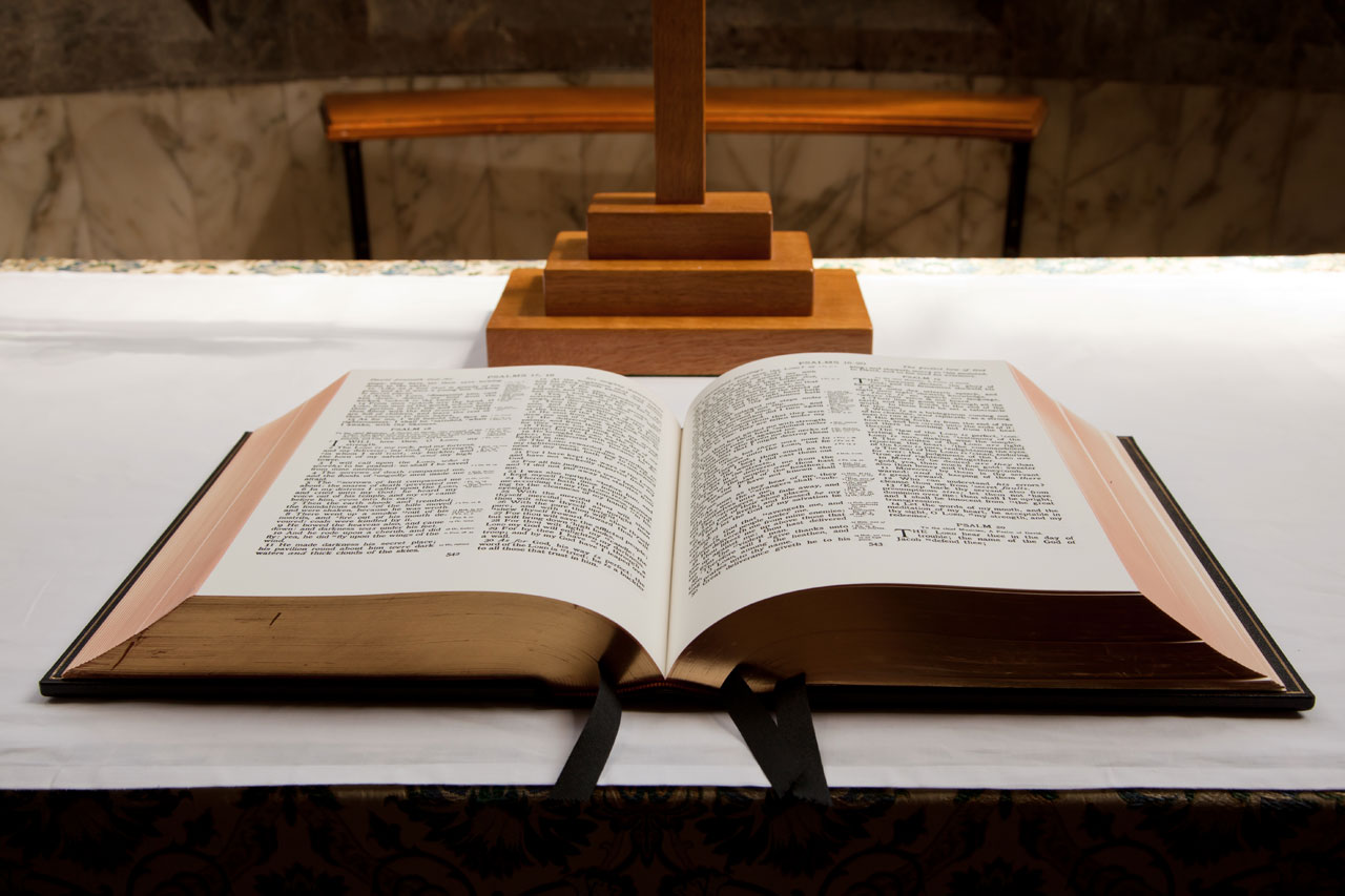 An open bible in church